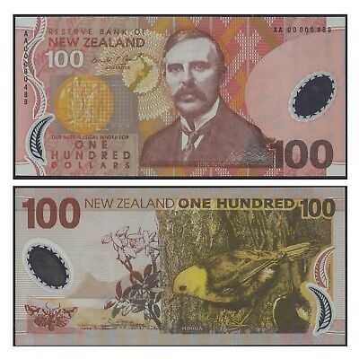 New Zealand One Hundred Dollars $100 Polymer Banknote UNC First Prefix AA00 #24