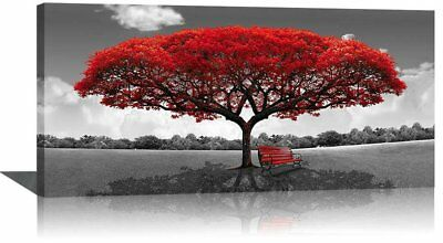 Large Black and White Picture Wall Art Framed Canvas Print Red Tree Bench Decor