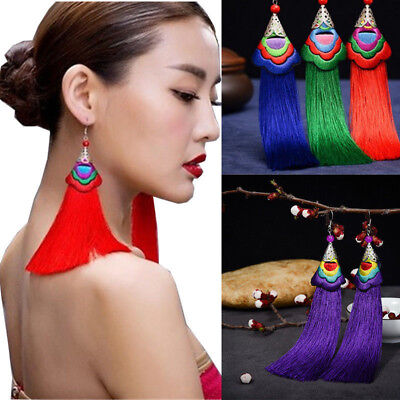 Women Fashion Long Tassel Fringe Ethnic Embroidery Hook Earrings Dangle Bohemian