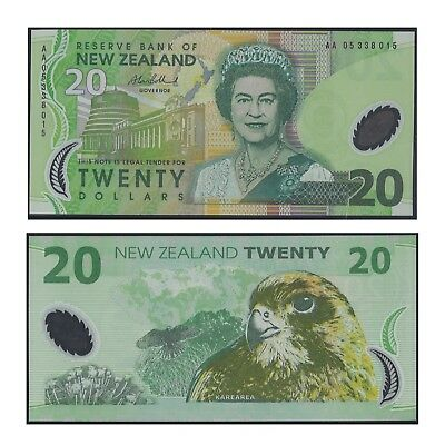 2005 New Zealand Twenty Dollars $20 Polymer Banknote UNC First Prefix AA05  #31