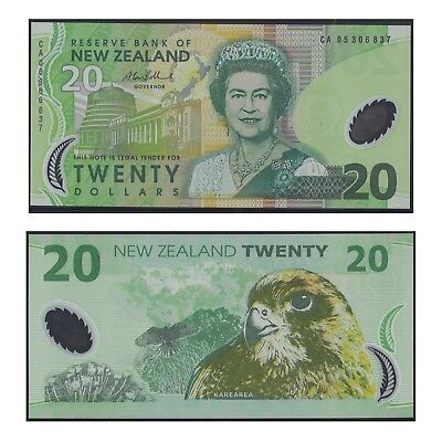 2005 New Zealand Twenty Dollars $20 Polymer Banknote UNC Regular Prefix  #31