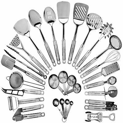 Stainless Steel Kitchen Utensil Set - 29 Cooking Utensils - Nonstick Kitchen