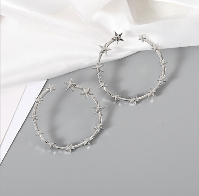 Gold Silver Plated Charm Alloy Star Hoop Fashion Dangle Drop Earrings For Women