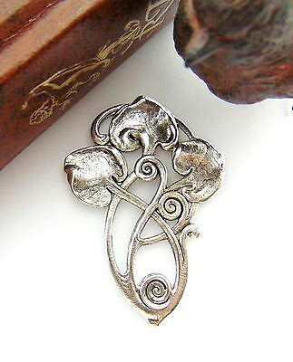 ANTIQUE SILVER Art Deco Motif LILY PAD LEAF Stamping Oxidized Jewelry (FB-6051)