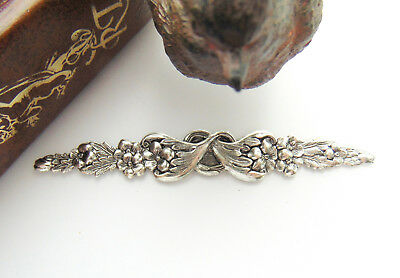 ANTIQUE SILVER (2 Pieces) Floral Bar Leaves Flower Stamping ~ Oxidized (FA-6065)