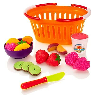 Milly & Ted Fruit Pretend Play Basket Set - Childrens Pretend Play Food For Kids