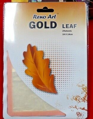 Golden leaf sheet 25 pieces craft restoration 14 x 14cm FREE AND FAST POST