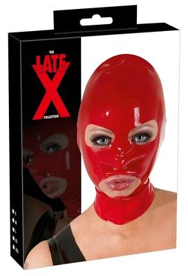 Sex Toys Maschera in lattice rosso Latex Fetish Bondage Cappuccio Integrale