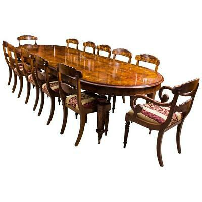 12ft Bespoke Handmade Burr Walnut Marquetry Dining Table & 12 Chairs