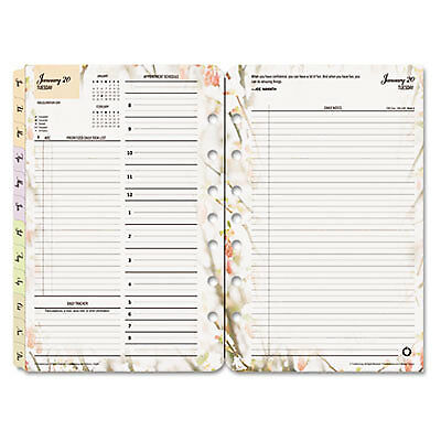 Blooms Dated Daily Planner Refill, January-December, 5 1/2 x 8 1/2, 2019 3544