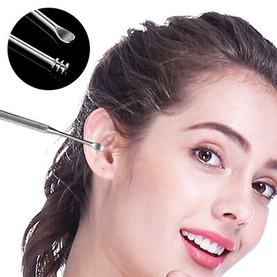 2Pcs Double-ended Stainless Steel Spiral Ear Pick Spoon Ear Wax Removers Cleaner