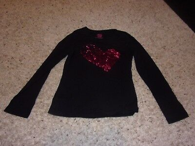 "Girls ""Faded Glory"" Black Long Sleeve ""Pink Heart"" Shirt Size L(10-12)"