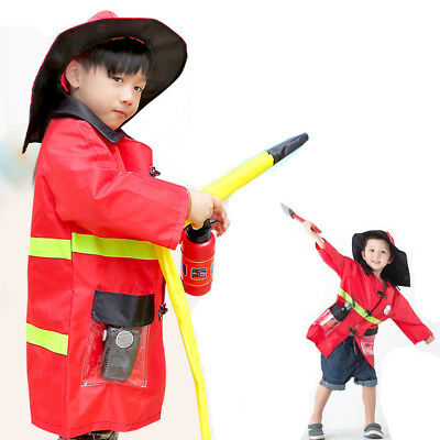 Cosplay 9pcs Fireman Outfit Kids Fight Fighter Costume Children Dress-Up Toy