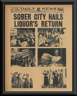 1933 Prohibition Ends Poster Reprint On 80 Year Old Paper Bar Decor Man Cave 141