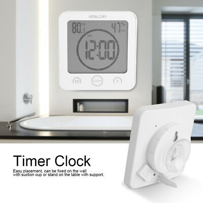 Waterproof Bathroom Timer Wall Clock Digital Thermometer Hygrometer Suction Cup