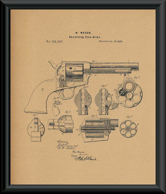 1875 Colt 45 Revolving Pistol Patent Reprint On 100+ Year Old Paper *P143