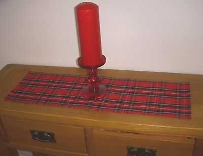 TARTAN Mini Christmas Table Runner Coffee Sideboard Decoration Red 60cm straight