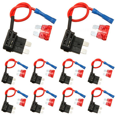 5 x Add A Circuit Piggy Back Fuse Tap Standard Blade & 5x Fuse Fuses 12/24V