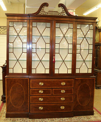 Gorgeous Restored Baker Collector's Edition Breakfront Bookcase China Cabinet