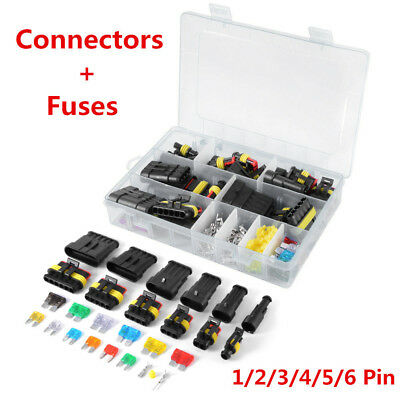 Car Electrical Terminal Connector 1/2/3/4/5/6 Pin Way+Fuses W/Box Waterproof