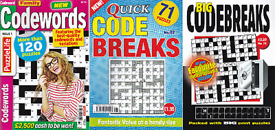 3 Codeword & Codebreaks Puzzle Books - 265 Puzzles - Set 233