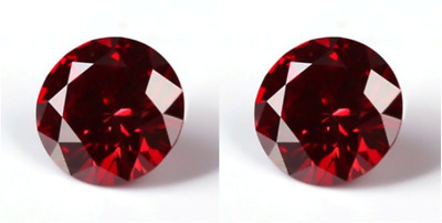 2 Cherry Red Moissanites 2.00 Tcw. Loose Round Vvs1 Pair Superior To Diamond