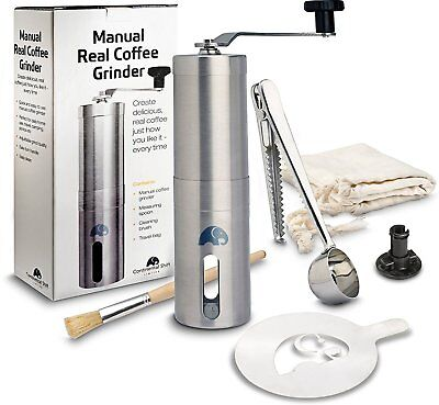 Brushed Stainless Steel Manual Coffee Grinder for Home Kitchen Travel Camping, C