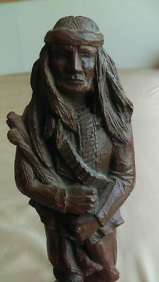 Largo Native American Indian Apache statue sculpture signed