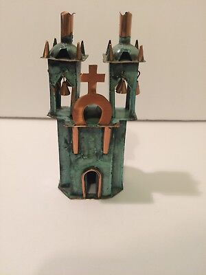 Vintage Copper Ayacucho Church Sculpture Handmade Made in Peru