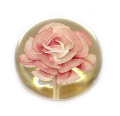 Vintage large pale lemon and pink flower heavy solid glass paperweight