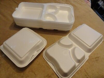 """30 Hinged Clamshell 3 Compartment 9"""" x9"""" x3"""" Food Take out Party Containers"""