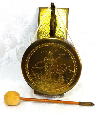 Brass Oriental Chinese Hanging Gong Bell with Hammer