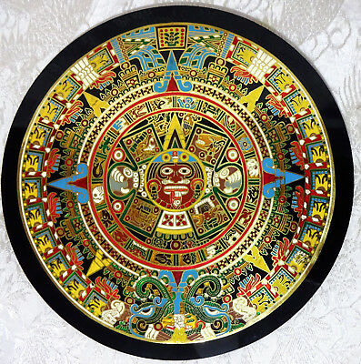 The Sun Stone Or Aztec Calendar Mexico Metal Enamal Collectible Wall Art Picture