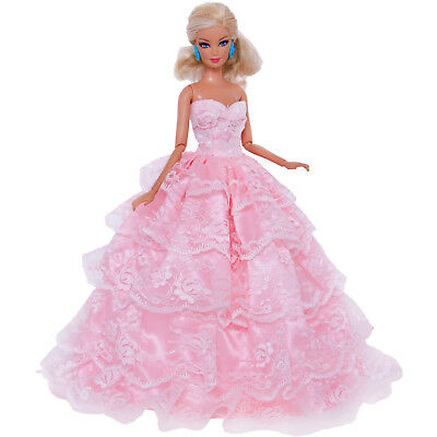 Handmade Pink Princess Lace Dress Wedding Gown Clothes Veil For Barbie Doll Gift