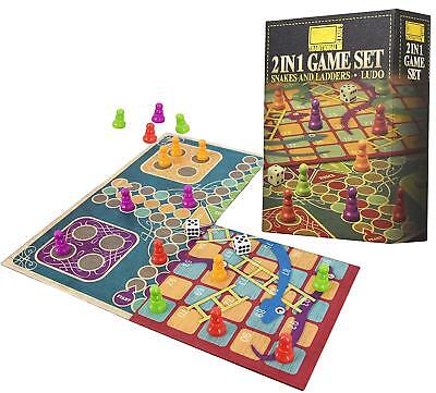 2 in 1 Traditional Board Game Set - Snakes & Ladders and Ludo