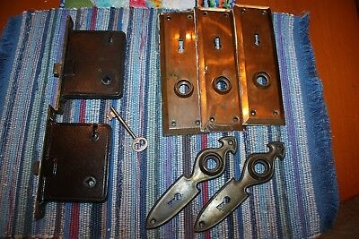 Lot of 2 Brass Face Antique Vintage MORTISE Door Locks working Corban P5 key