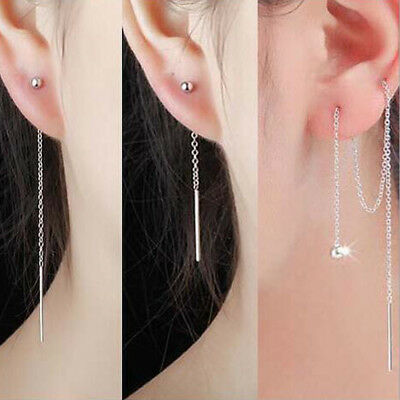 Korean Fashion 925 Silver Threader Long Link Chain Earrings Gift Womens