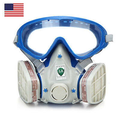 US Double Filter Full Face Gas Mask Breath Painting Dust Protector Respirator