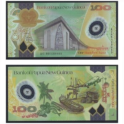 2005 Papua New Guinea One Hundred 100 Kina Polymer Banknote UNC  #19