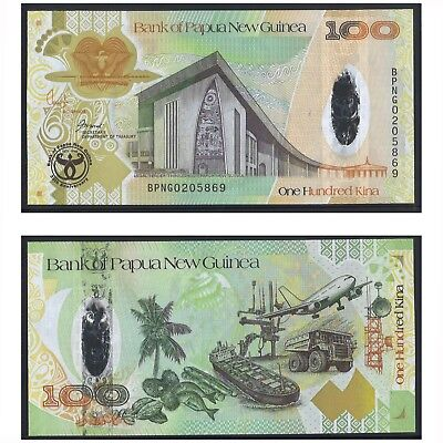 2008 Papua New Guinea One Hundred 100 Kina Paper Banknote UNC Prefix BPNG02 #20