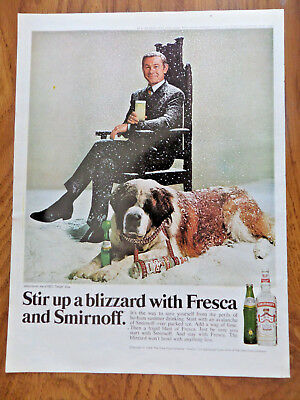 1969 Smirnoff Vodka Brunch Ad John Carson NBC Tonight Show & St Bernard Dog