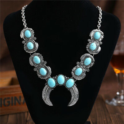 Vintage Boho Blue Turquoise Stone Silver Chain Necklace Pendant Fahion Jewelry