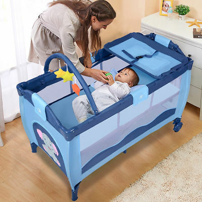 All In 1 Baby Portable Travel Cot Bassinet Playpen Crib Portacot w/ Change Table