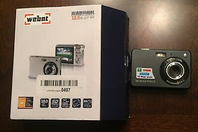 "Webat Mini Digital Compact Camera 2.7"" Display, Silver, 18mp Used Great Shape"