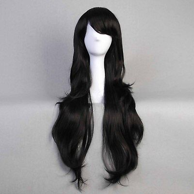 32'' Adventure time Marceline the Vampire Queen Long Black Curly Cosplay Wig