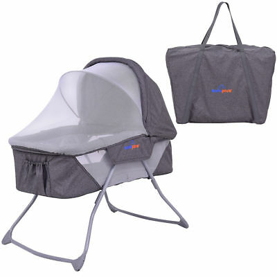 Portable Baby Bassinet Bed Rocking Cradle Cot Mosquito Net Canopy Newborn w/Bag