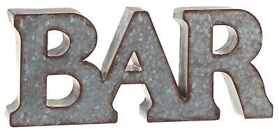 Galvanized Bar Letters Wall Plaque 14.25 Inches Distressed Finish