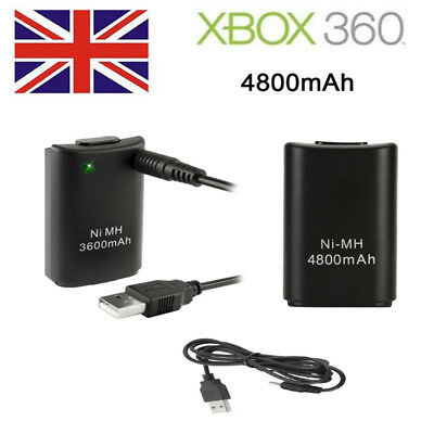 UK STOCK 2x 4800mAh Rechargeable Battery Pack Charger For XBOX 360 Controller