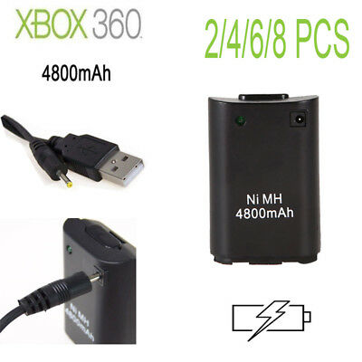 NEW 4800mAh USB Charge Cable Rechargeable Battery Pack for Xbox 360 Controller