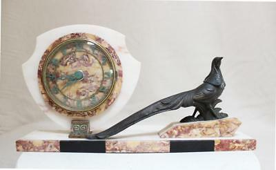 French   Clock  Marble   Art Deco 1920